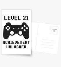 LEVEL 21 ACHIEVEMENT UNLOCKED Controller retro video games 21st birthday Postcards