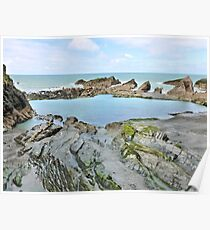 Ilfracombe beyond the rock pool Poster