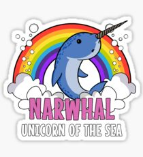 Narwhal Fish Unicorn Of The Sea Colorful Rainbow Funny Sticker
