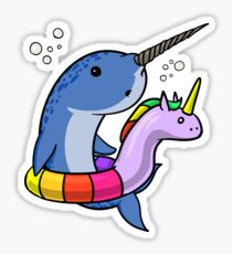 Unicorn Float Funny Narwhal Fish Party Cartoon Pool Sticker
