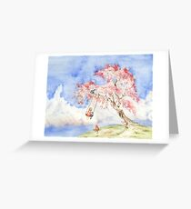 Girl on a Sakura Tree Swing with Cats Greeting Card