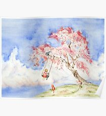 Girl on a Sakura Tree Swing with Cats Poster