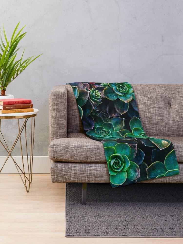 Alternate view of Succulent fantasy Throw Blanket