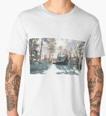 Northern Winter Cottage in Snow Men's Premium T-Shirt