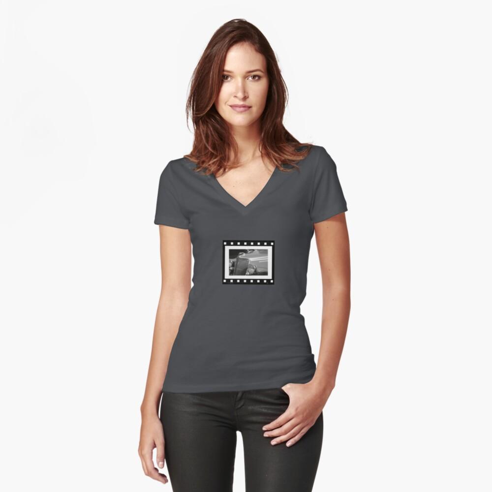 Vintage Film Strip Women's Fitted V-Neck T-Shirt Front