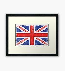 Vintage Flag > UK Flag Made of Motorbike Tracks > Biker Framed Print