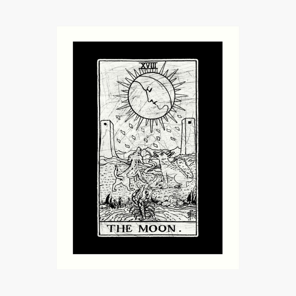 La Carta del Tarot de la Luna - Arcanos Mayores - adivinación - oculta Lámina artística