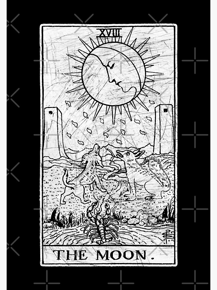 The Moon Tarot Card - Major Arcana - fortune telling - occult |  Photographic Print