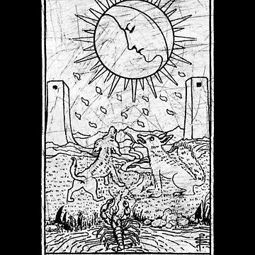 La Carta del Tarot de la Luna - Arcanos Mayores - adivinación - oculta de createdezign