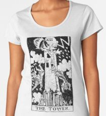 The Tower Tarot Card - Major Arcana - fortune telling - occult Women's Premium T-Shirt