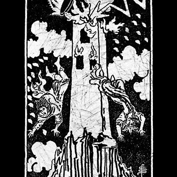 La carta del Tarot de la Torre - Arcanos Mayores - adivinación - oculta de createdezign