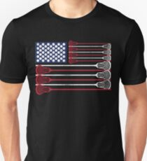 Vintage Flag > US Flag Made of Lacrosse Balls + Bats > Laxing Slim Fit T-Shirt