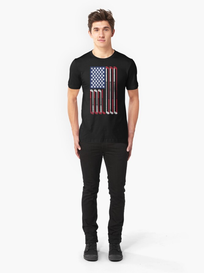 Alternative Ansicht von Vintage Flag > US Flag Made of Golf Balls + Clubs > Cool Golf Slim Fit T-Shirt