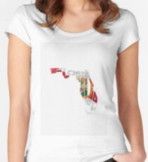 Florida Typographic Map Flag Women's Fitted Scoop T-Shirt