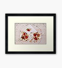 Strawberries cereals and chocolate flakes inside the plain yogurt Framed Print