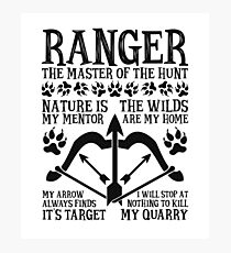 RANGER, The Master of the Hunt - Dungeons & Dragons (Black Text) Photographic Print