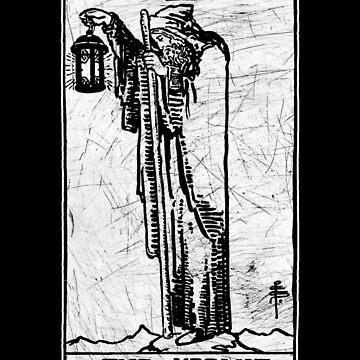 La carta del Tarot Ermitaño - Arcana mayor - adivinación - oculta de createdezign