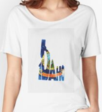 Idaho Typographic Map Flag Women's Relaxed Fit T-Shirt