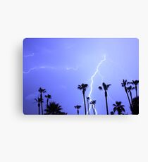 Tropical Palms Trees and a Lightning Thunder Storm, ll  Canvas Print