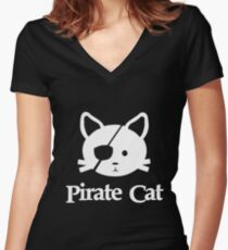 Pirate Cat T Shirt - Funny Cat Lover - Pirate Cat Women's Fitted V-Neck T-Shirt