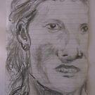 Female head/Copied photo -(200817)- Graphite Pencil Stick/A5 by paulramnora