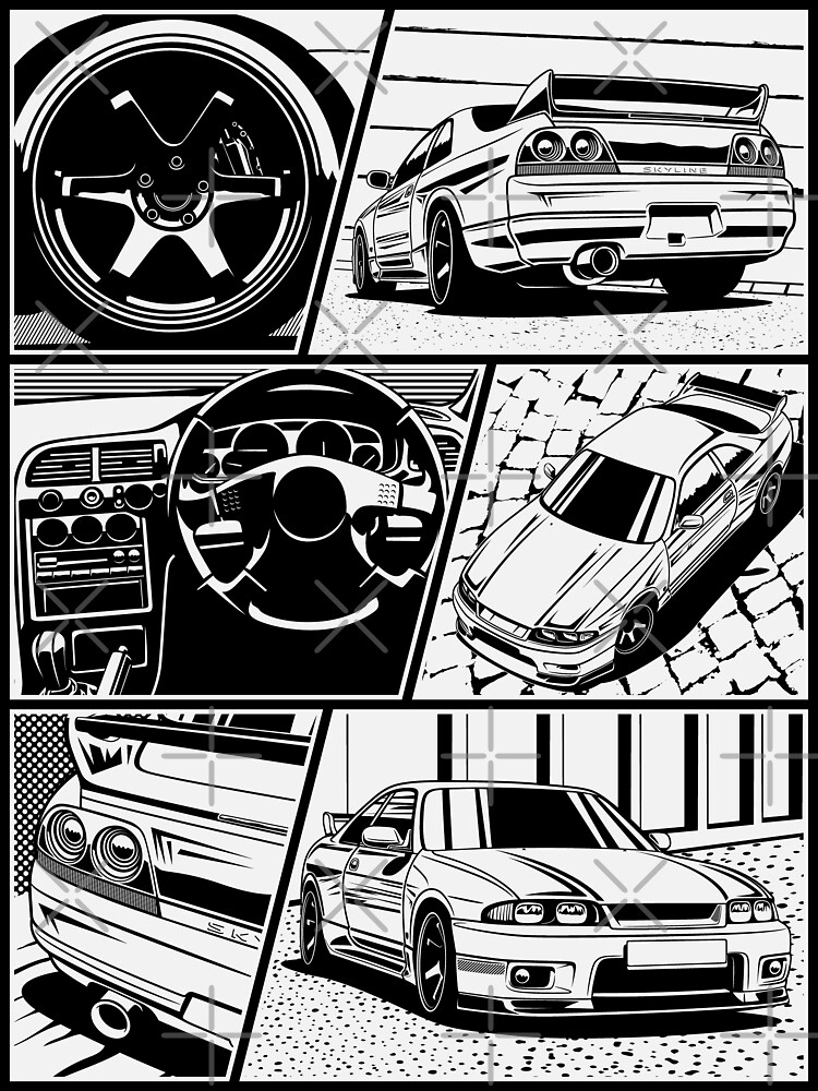 Skyline R33 Gtr Details White Background Poster By Olegmarkaryan