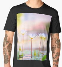 Selective focus of a white water lilies in a pond  Men's Premium T-Shirt