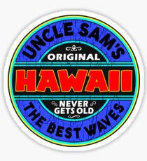 SURFING HAWAII THE BEST WAVES SURF SURFER UNCLE SAM'S WAX 2 Sticker