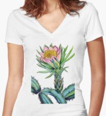 Blooming cactus Women's Fitted V-Neck T-Shirt