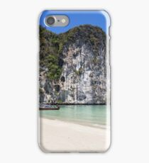 Long tail boats on the beach at Koh Lao Liang, Trang, Thailand iPhone Case/Skin