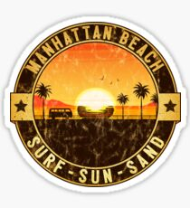 Surfing MANHATTAN BEACH California Surf Surfer Surfboard Waves Ocean Beach Vacation 3 Sticker