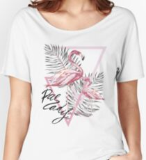 Flamingo and Plumeria flowers Women's Relaxed Fit T-Shirt