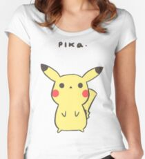 Pikachu -Pika. Women's Fitted Scoop T-Shirt
