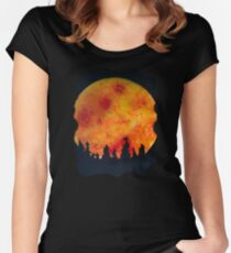 FIERY FULL MOON  Fitted Scoop T-Shirt