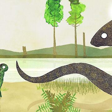 Parasaurolophus & Sauropod by djrbennett