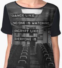 Encrypt like everyone is watching (B&W BG) Women's Chiffon Top