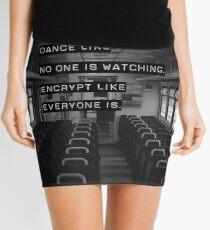 Encrypt like everyone is watching (B&W BG) Mini Skirt