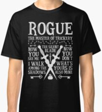 ROGUE, The Master of Trickery - Dungeons & Dragons (White Text) Classic T-Shirt
