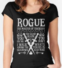 ROGUE, The Master of Trickery - Dungeons & Dragons (White Text) Women's Fitted Scoop T-Shirt
