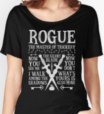 ROGUE, The Master of Trickery - Dungeons & Dragons (White Text) Women's Relaxed Fit T-Shirt