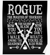 ROGUE, The Master of Trickery - Dungeons & Dragons (White Text) Poster