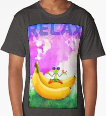 RELAX - Zen Froggy Knows Best. Original mixed-media watercolor Long T-Shirt