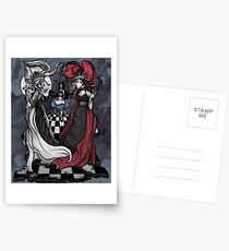 Alice and her Queens: The Checkered Board Postcards