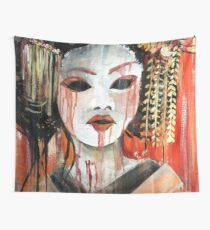 Geisha in Autumn Rain: The Innocent Concubine Wall Tapestry