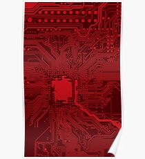 Red Geek Motherboard Circuit Pattern Poster