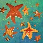 Starry Starfish Night by Barbora  Urbankova