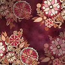 Golden Embroidery Flowers by Barbora  Urbankova