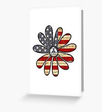 Flower Power American Flag Greeting Card