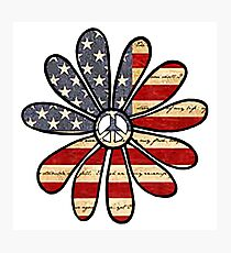 Flower Power American Flag Photographic Print