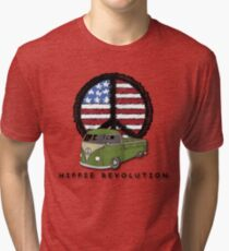 Hippie Revolution Single cab with American Flag Peace Sign Tri-blend T-Shirt
